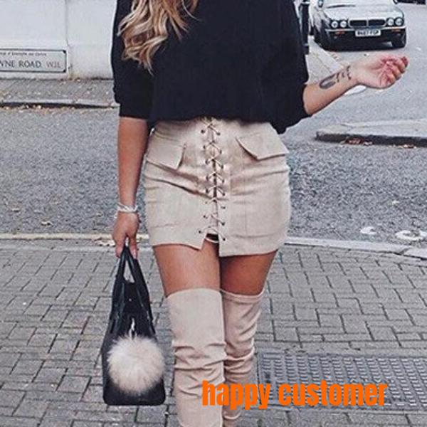 New 2017 Autumn Lace-up Pencil High Waist Skirt