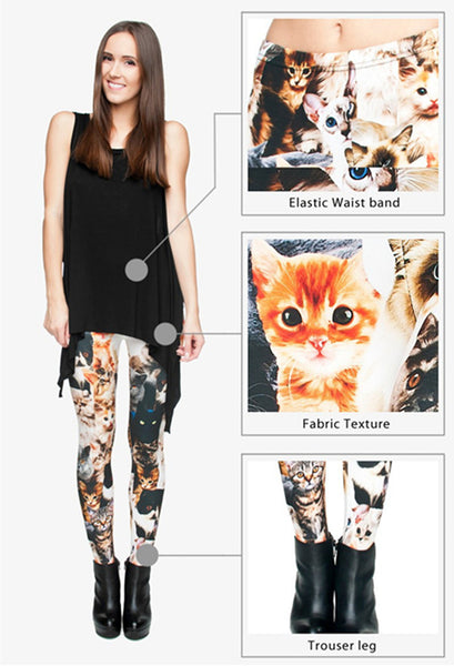 Punk Women Cats 3D Full Printing Legging