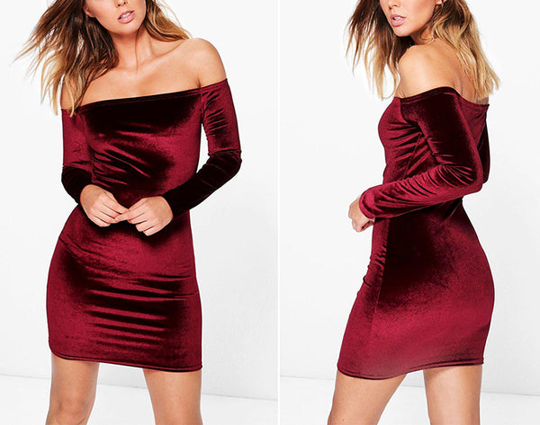 Best Selling! Sexy Off Shoulder Elegant Winter Party Long Sleeve Velvet Dress