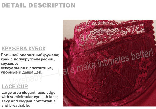 Sexy lace padded push up bra sets - A B C D Cup