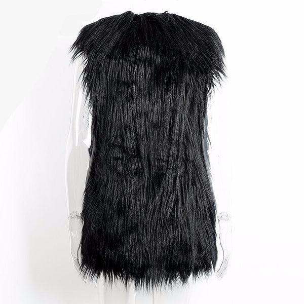Lovely Fluffy Black Faux Fur Vest Autumn Winter Waistcoat