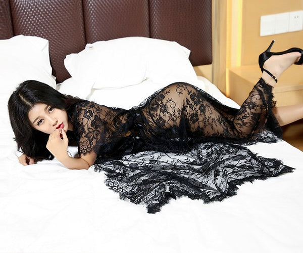 Sexy Costumes Women Hot Intimates Underwear Deep V Long Nightdress
