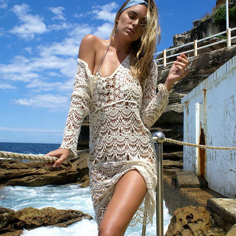 Sexy Beach Cover up Crochet White Breathing Swimwear Dress