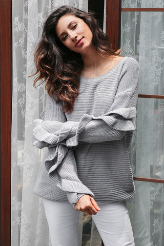 Elegant Casual Winter Loose Round Neck  Ruffle Knitted Sweater
