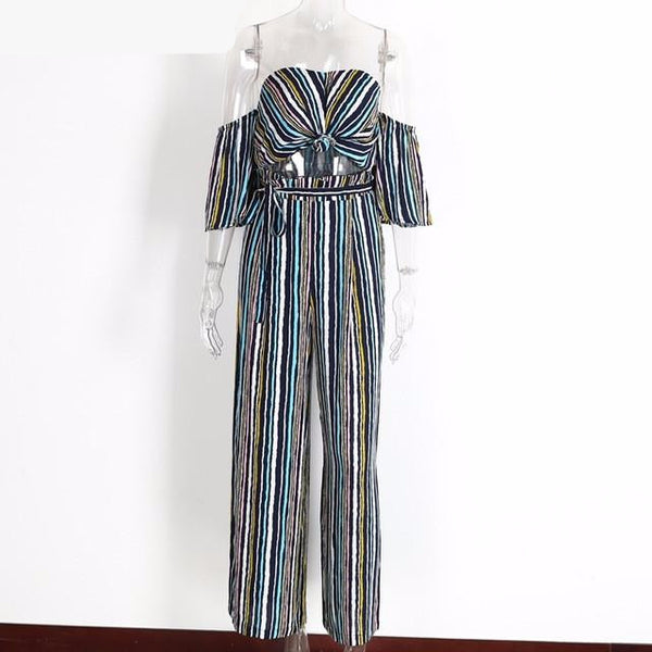NEW Sexy Spring Off Shoulder Two Piece Striped Casual Jumpsuit