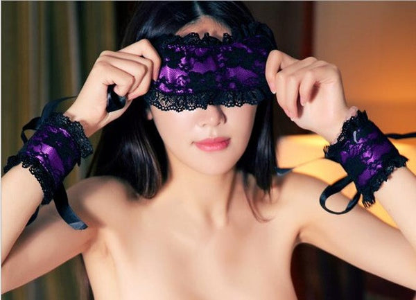Sexy Hot Exotic Lingerie Lace Mask Blindfolded Patch+Sex Handcuffs