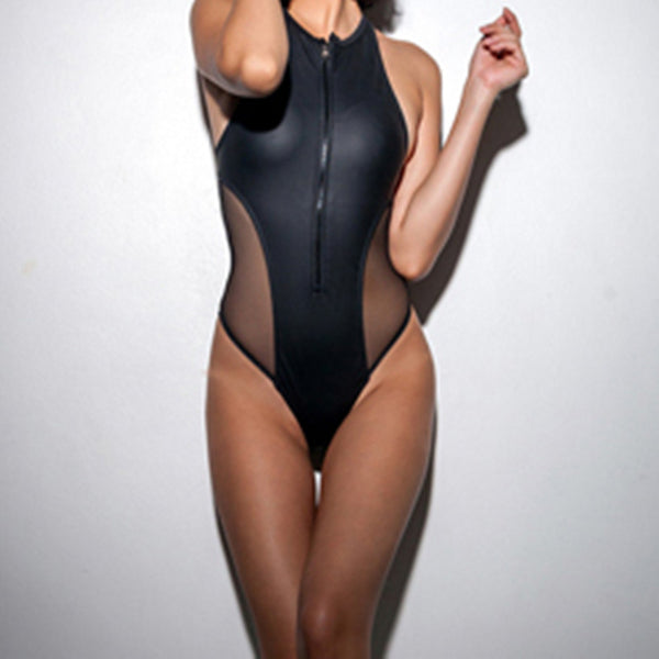 Sexy Hallow Out Neoprene Mesh One Piece Padded Bathing Suit