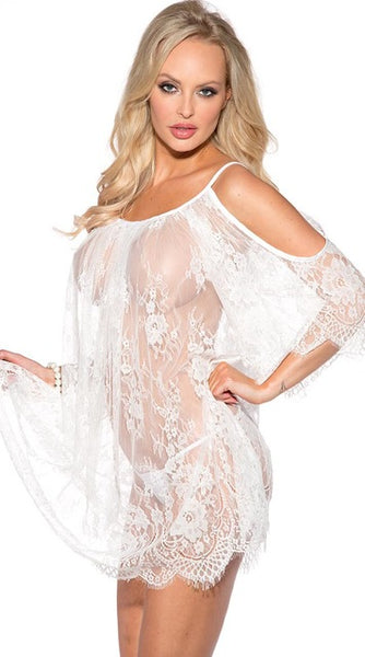 Hot Intimates Cut Out Shoulder Lace Babydoll Lingerie