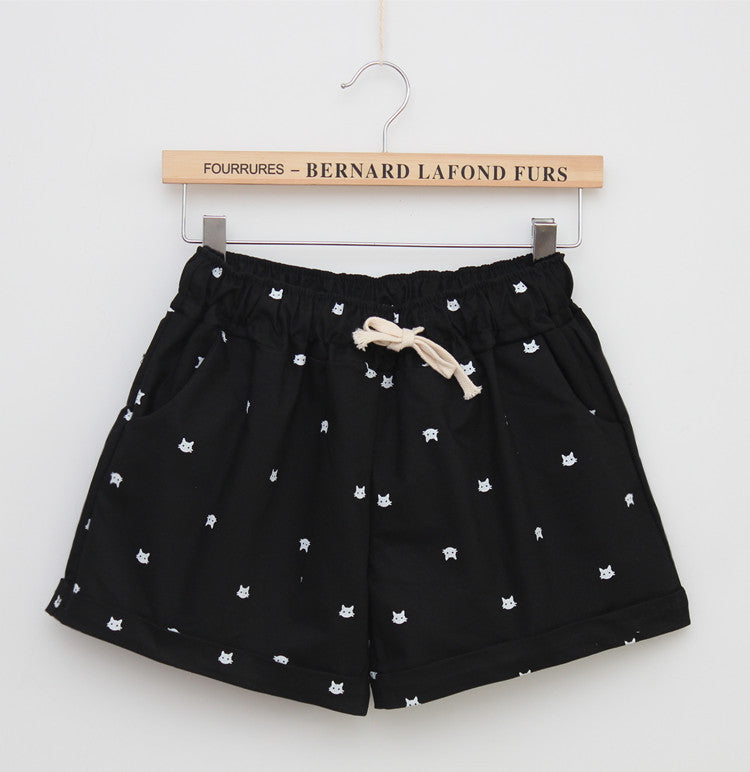 Elegant Brand New Summer Elastic Waist  Printed Cat Slim Shorts