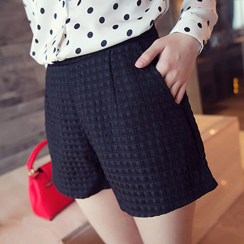 Casual High Waist Big Size Wild Lattice Shorts