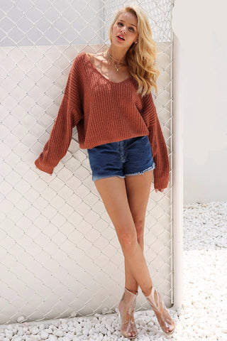 NEW Sexy  Backless  Hollow Out Knitting Fashion Winter Sweater