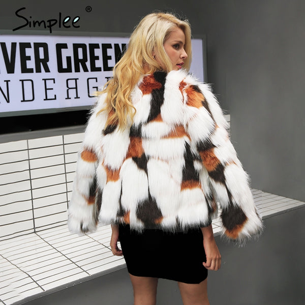 Hot Selling Elegant Fluffy Faux Fur Coat