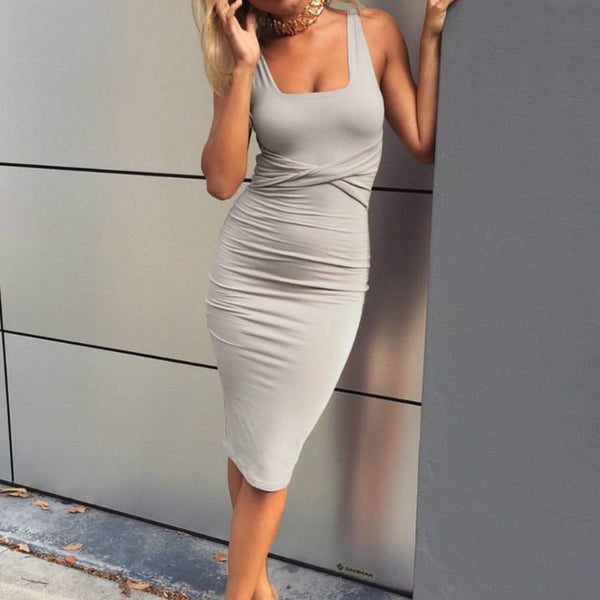 Best Selling!!! Gorgeous Sexy Scoop Collar Sleeveless Tight Dress
