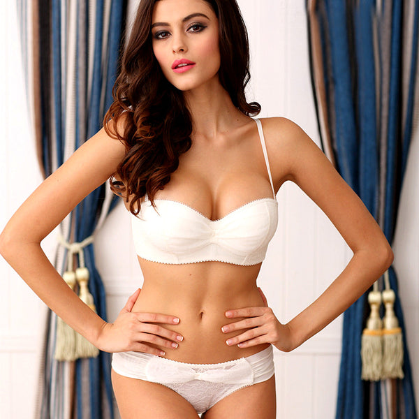 Strapless Half Cup Push Up Bra Set (Bra+Panties)