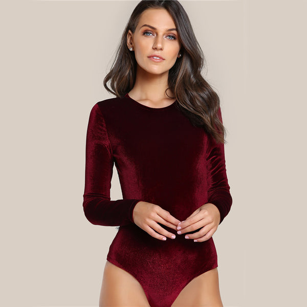 Backless Velvet Lace Long Sleeve Bodysuit - Burgundy