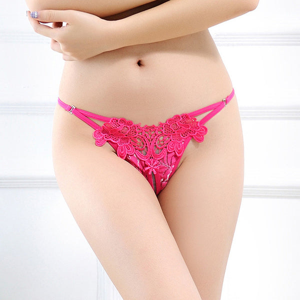 Hot Sexy Low-waist Temptation Thongs Flower Embroidery Open Crotch Panties