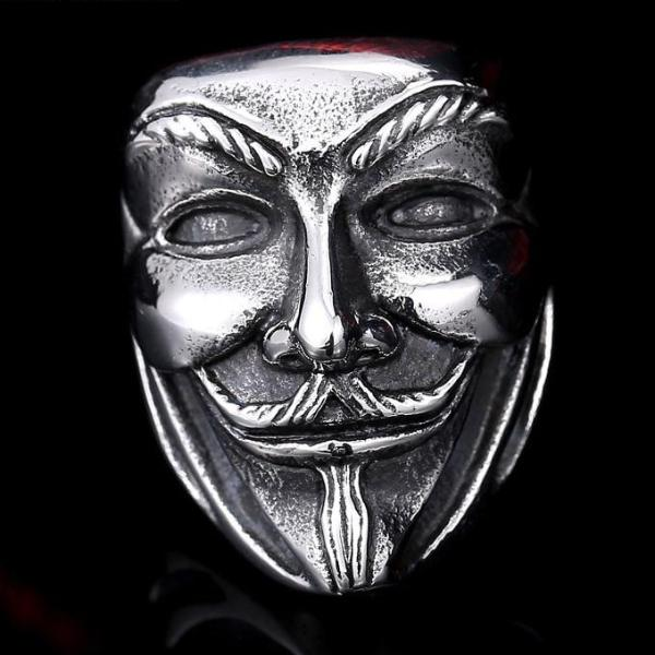 Vendetta Mask Steel Biker Ring