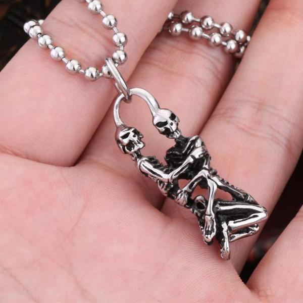 Dancing Pose Skeleton Titanium Necklace