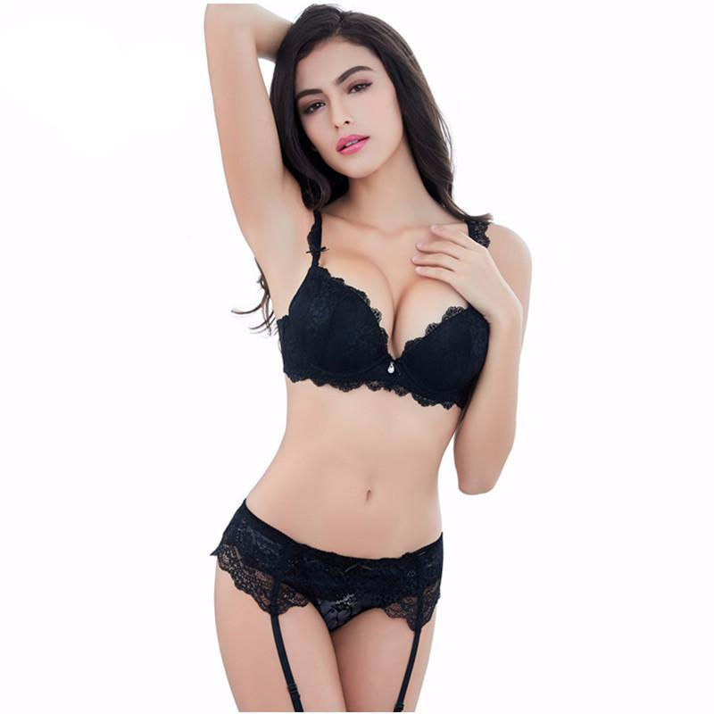 Sexy Lace Lingerie Gather Adjusted-straps Bra Sets 3 Pcs/Lots