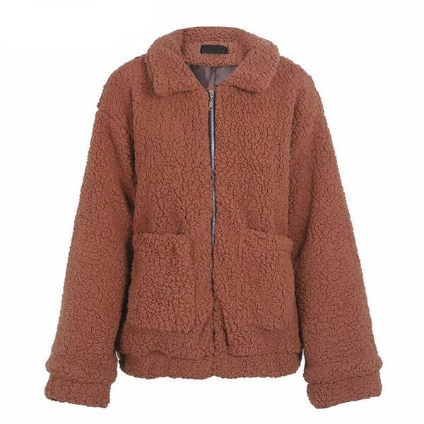 Winter Coat Warm Hairy Oversize Lambswool Jacket