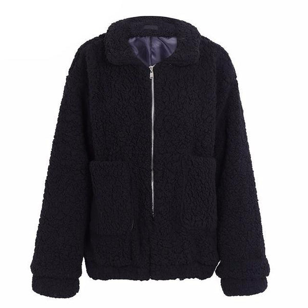 2017 Winter Coat Warm Hairy Oversize Lambswool Jacket