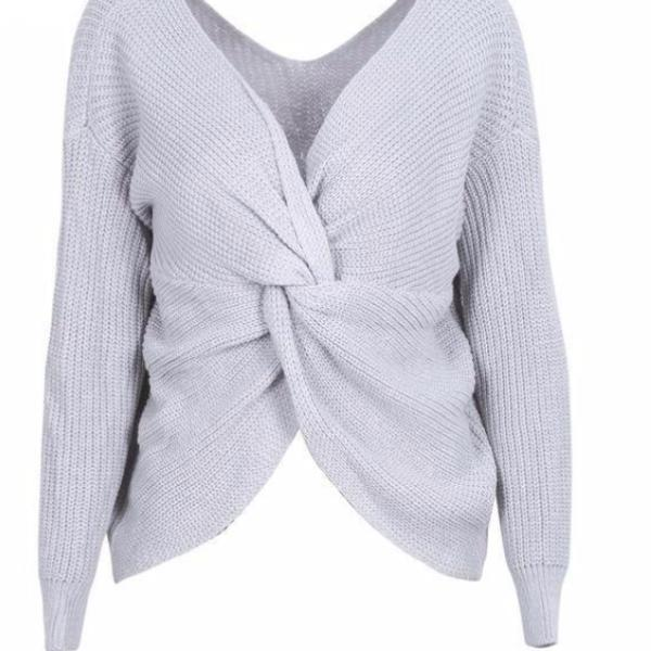 New Sexy Fashion Loose Pull  Back Bow Soft V Neck  Sweater