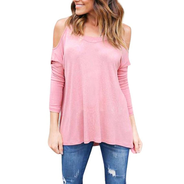 Cute And Sexy Round Neck Cotton Cold Shoulder Long Sleeve