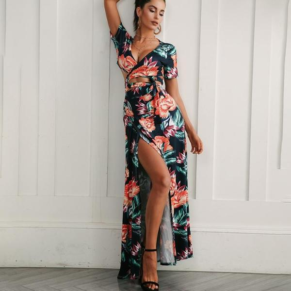 Floral High Slit Beach Dress
