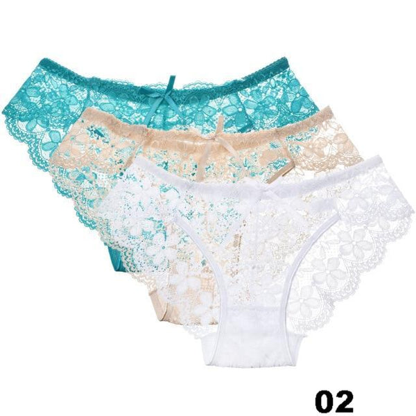 3 Pcs Sexy Lace Seamless Hollow Transparent Panties