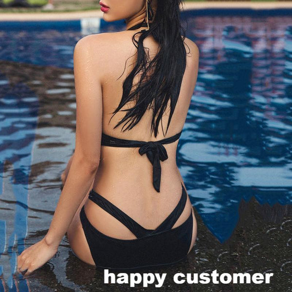 2018 Sexy Black Halter Trikini Push Up Brazilian One Piece Swimsuit