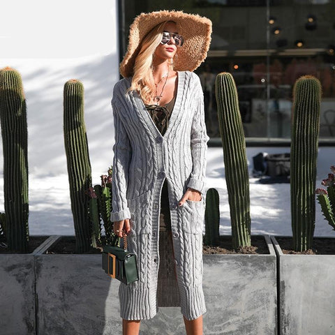 Simplee Knitting Long Cardigan Winter Sweater