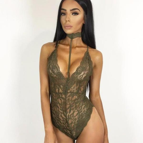 Hot & Sexy Elegant Halter Lace Transparent Jumpsuit/Bodysuit