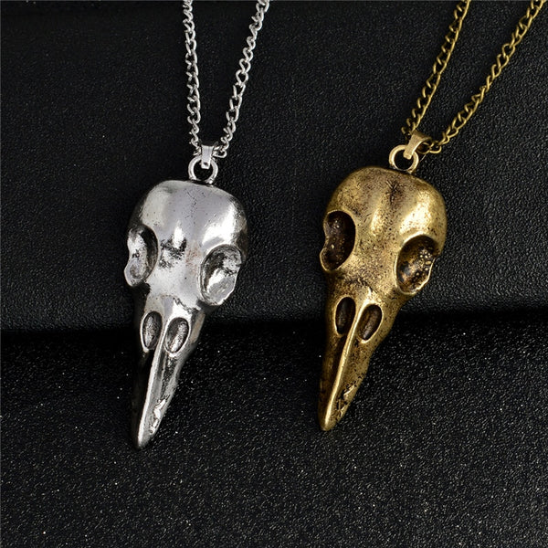 Retro Silver/Bronze Bird Skull Necklace