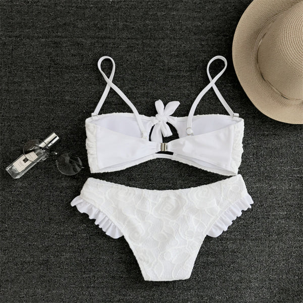 Super Sexy Lace White Bandage Bikini Swimwear
