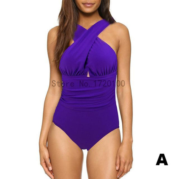 Hot Selling! Sexy Cross Halter  One Piece Swimsuit