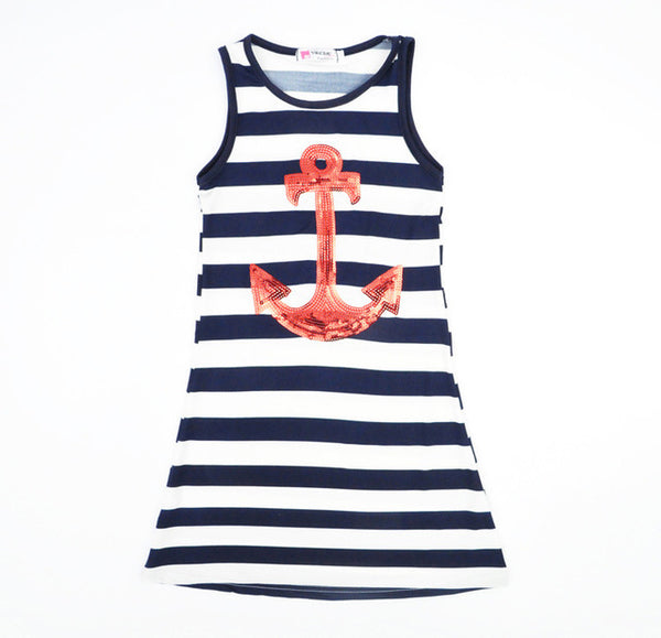 New Fashion Family Matching Outfits Mom Daughter Striped Anchors Vest Dress