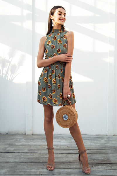 Elegant Summer Beach Boho Dress With Elastic Waist