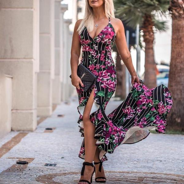 Flower Print Summer Beach Dress