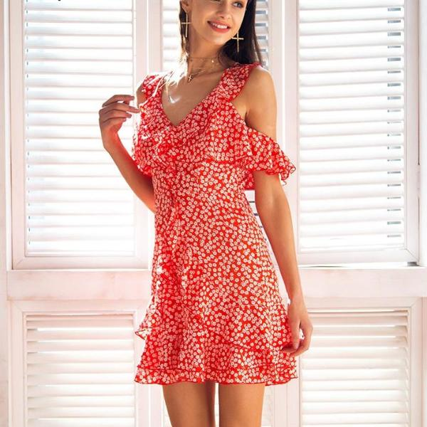 New Floral Print Ruffle Frill  Summer Dress