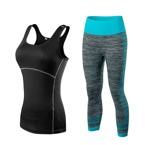 Ladies Cropped Top 3/4 Leggings Sports Workout Fitness Set