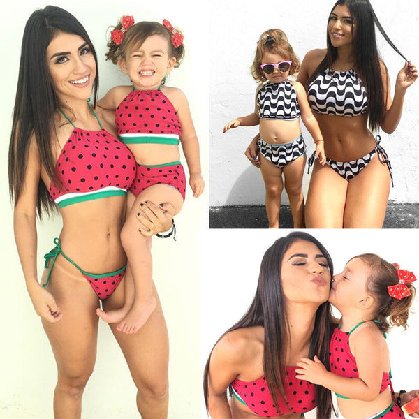 Sexy Halter Two Piece Mother Daughter Matching Bikini Set