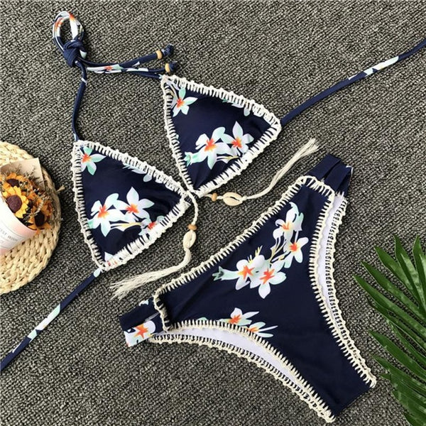Sexy Hot Padded Crochet Bikini Set Swimwear