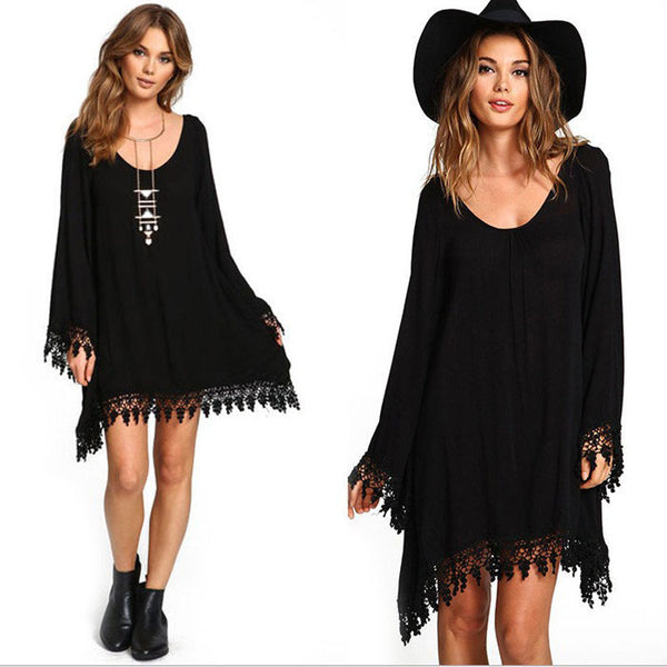 Mini Summer Dress Asymmetrical With Tassel - Plus Size S-6XL