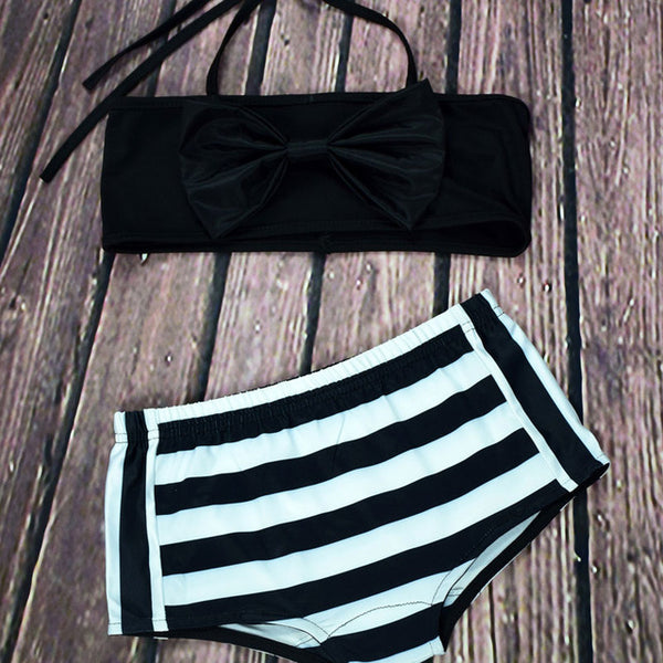 MOMMY & ME STRIPED HIGH WAIST SWIMSUIT BIKINI SET