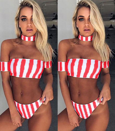 New Sexy Summer Bikini Set Pink White Striped Swimsuit