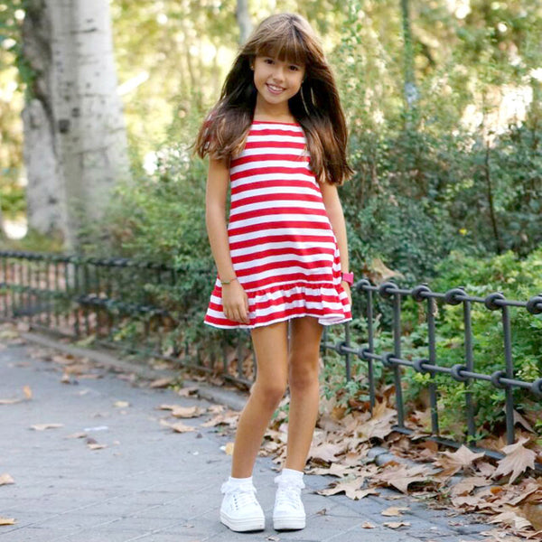 Super Cute Mom and Daughter Striped Dresses Matching Outfit