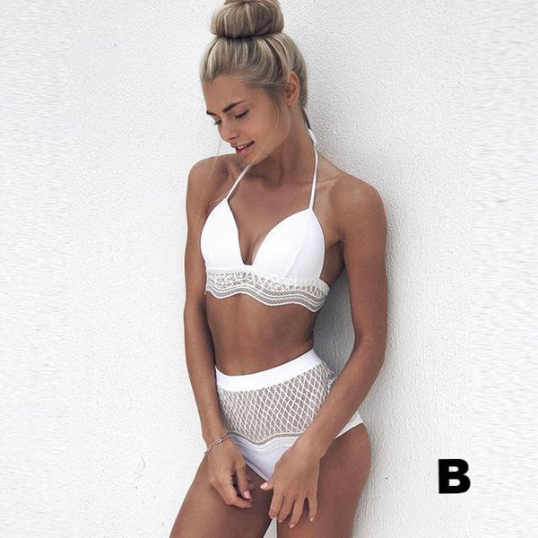 Crochet Halter Top Girl Bathing Suit