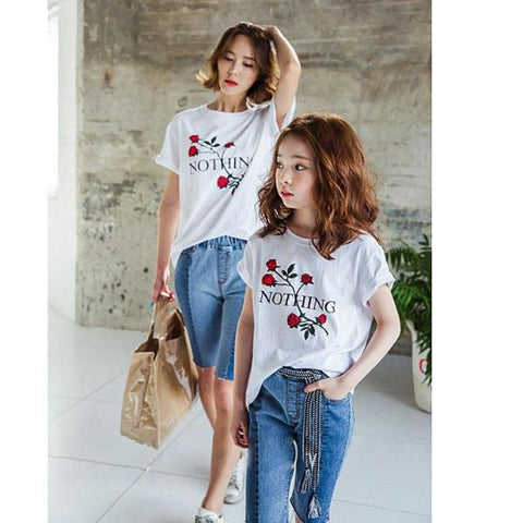 Mother And Daughter Floral Matching Outfits T-Shirt Top