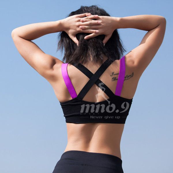 Sexy Colorful Cross Back  Fitness Sports Bra