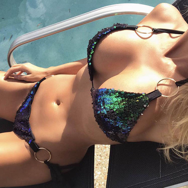 New Lovely Sexy Sequin Push Up Beach Swimwear